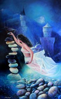 acrylic on canvas,figurative, fantasy,Surrealism,Water Kingdom,ART_1790_14626,Artist : Sabir Haque,Acrylic