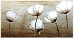 Minimalistic Floral Art - 48in x 24in,RTCSC_15_4824,Beautiful White Flowers,Purity of Five White Flowers,,Oil Colors,Golden Circle,Museum Quality - 100% Handpainted Buy Painting Online in India.