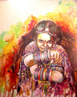 Rainbow Dreams 01 - 20in  X 24in (Stretcher Framed),ART_SAME05_2024,Acrylic Colors,Artist  Shoma Mukherjee,Lady ,Female, Hopes,Colorful Dreams - Buy Painting Online in India