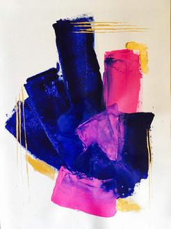 Abstract, Minimalistic, Peace, Pink, Blue, Violet,The Pink Blushes,ART_1869_15023,Artist : Isha Agarwal,Acrylic
