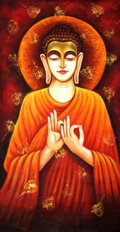 Buddha ,Buddha with leaf,ART_1522_15156,Artist : Ram Achal,Acrylic