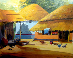 village,rural,bengal,landscape,cottage,hut,Bengal Rural Cottage,ART_1232_14225,Artist : SAMIRAN SARKAR,Acrylic