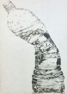 Bottle, crushed, pencil, paper, A3, black and White,Bottle,ART_1898_15649,Artist : Ravish Choudhary,Pencil