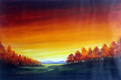autumn,forest,acrylic,painting,canvas,nature,acrylic canvas,painting,Autumn Sunset,ART_1232_15708,Artist : SAMIRAN SARKAR,Acrylic