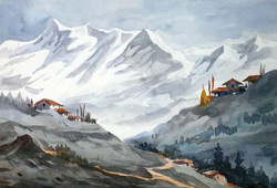 mountain,landscape,painting,watercolor,paper,Majestic Himalayan Landscape,ART_1232_15762,Artist : SAMIRAN SARKAR,Water Colors
