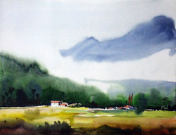 watercolor,landscape,mountain,Himalaya,paper,Beauty of Himalaya  Mountain ,ART_1232_15756,Artist : SAMIRAN SARKAR,Water Colors