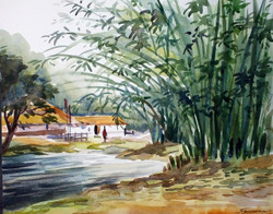 village,rural,landscape,nature,watercolor,watercolor on paper,painting,Morning Village ,ART_1232_15752,Artist : SAMIRAN SARKAR,Water Colors
