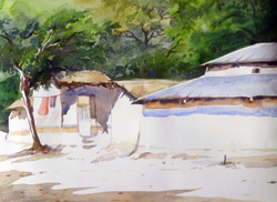 village,bengal,watercolor landscape,painting,paper,rural,hut,Morning Rural Bengal Village,ART_1232_15749,Artist : SAMIRAN SARKAR,Water Colors
