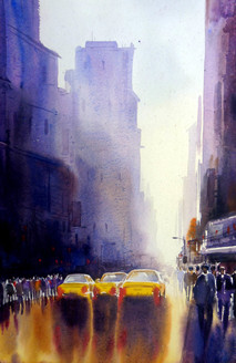 city,street,watercolor,painting,paper,mandscape,,City Street after Rain,ART_1232_15744,Artist : SAMIRAN SARKAR,Water Colors
