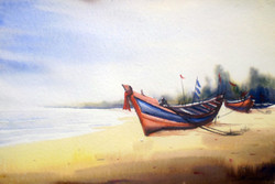 fishing boat,watercolor,landscape,painting,paper,,Fishing Boats at Seashore,ART_1232_15743,Artist : SAMIRAN SARKAR,Water Colors