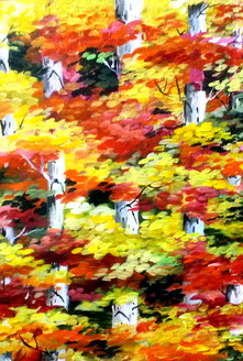 autumn,forest,acrylic,painting,canvas,nature,acrylic canvas,painting,Beauty of Autumn Forest,ART_1232_15725,Artist : SAMIRAN SARKAR,Acrylic