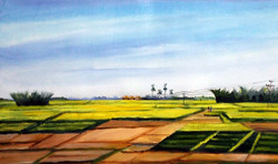 rural,landscape,acrylic,painting,canvas,village,nature,corn,corn field,,Rural Cornfield ,ART_1232_15723,Artist : SAMIRAN SARKAR,Acrylic