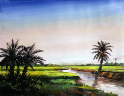 village,landscape,palm tree,acrylic on canvas,painting,nature,Rural River & Palm Trees,ART_1232_15719,Artist : SAMIRAN SARKAR,Acrylic