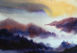 mountian,landscape,watercolor,paper,evening,nature,Himalaya,Mystery Morning Himalaya,ART_1232_15801,Artist : SAMIRAN SARKAR,Water Colors