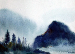 mountian,landscape,watercolor,paper,evening,nature,Himalaya,Mystery Himalaya,ART_1232_15799,Artist : SAMIRAN SARKAR,Water Colors