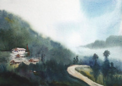 watercolor , himlaya,mountain,monestry,landscape,nature,Mystery Himalaya,ART_1232_15798,Artist : SAMIRAN SARKAR,Water Colors