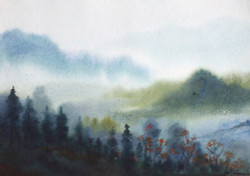 mountian,landscape,watercolor,paper,evening,nature,Himalaya,Mystery Himalaya,ART_1232_15796,Artist : SAMIRAN SARKAR,Water Colors