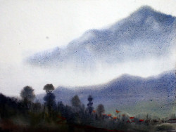 watercolor,landscape,mountain,Himalaya,paper,Mystery Himalaya,ART_1232_15795,Artist : SAMIRAN SARKAR,Water Colors