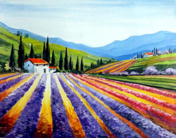 valley,flower,landscape,acrylic,canvas,painting,nature,Beauty of Flowers Valley,ART_1232_15806,Artist : SAMIRAN SARKAR,Acrylic