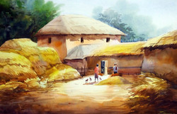 village,rural,landscape,painting,watercolor,bengal,,Bengal Village at Harvest Time,ART_1232_15825,Artist : SAMIRAN SARKAR,Water Colors