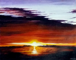 sun,sunset,sunset landscape,;amdscape painting,sunset acrylic,acrylic painting,Beauty of Sunset II,ART_1232_16014,Artist : SAMIRAN SARKAR,Acrylic