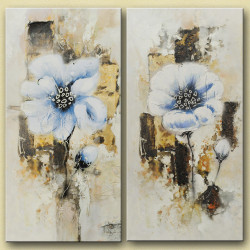 NewMana - 32in X 32in,28GRP89_3232,White, Light Shades,80X80 Size,Multi Panel Art Canvas Painting