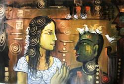 ,Lady with Monk 02,ART_1229_1427,Artist : Pallavi Jain,Acrylic