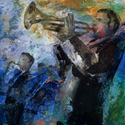 Jazz - 40in X 40in,28Jazz17_4040,Blue, Violet, Mauve,100X100 Size,Modern Art Art Canvas Painting