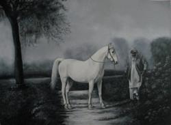 horse, trainer, ajit, singh, punjab, swaraj, famous, relationship, love,The Horse Trainer,ART_2078_16784,Artist : Yashowar Verma,Oil