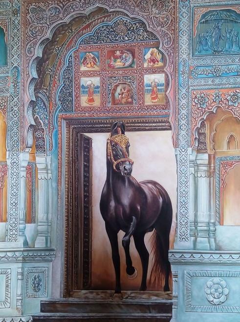 marwari, horse, rajasthani, ornate, gate, goldfoil, work, embossed,Marwari Stud,ART_2078_16694,Artist : Yashowar Verma,Oil