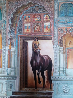 marwari, horse, rajasthani, ornate, gate, goldfoil, work, embossed,Marwari Stud,ART_2078_16694,Artist : Yashowar Verma,Oil