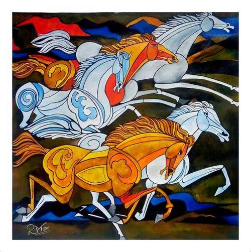 HORSE,  FANGSUI, MODERN ART,HORSE 3,ART_1033_17424,Artist : PARESH MORE,Acrylic