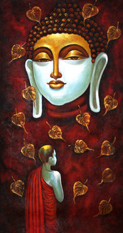 Buddha ,Buddha with monk,ART_1522_15157,Artist : Ram Achal,Acrylic