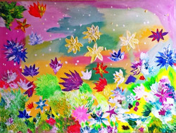 Peaceful - 40in X 30in,ART_PIAA40_4030,,nature,Floral,Acrylic Colors,Rolled Canvas,Artist Preeti Arora,Museum Quality - 100% Handpainted - Buy Online Painting in India.