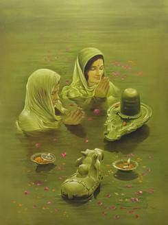 Buddha, Monastery, Meditation, Mountains, Peace, Tranquility,shiva,shivling,lady,girl,woman,women,devotion,Shiv Ling Abhishek,ART_640_6491,Artist : Kamal Rao,Oil