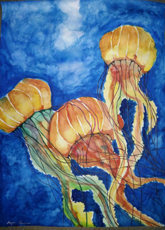 Jelly fish,Flow in the blue,ART_2275_17871,Artist : Raja Joanna,Water Colors