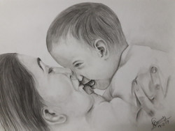 Peace, mother, baby, baby with mother, mother and baby, mother's love,Mother's love,ART_2074_16840,Artist : Naruttam Boruah,Charcoal