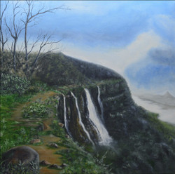 WaterFall, Hill Station, Western Ghats, Nature, Mountain, Peace, Hill Top,The Water Fall at Western Ghats,ART_2331_18077,Artist : Rupesh Kamat,Oil