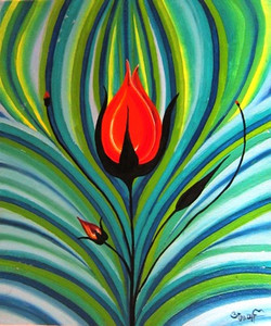 Delicate Flower - 10in  X 12in(Canvas Board),ART_AAWE19_1012,Nature,Artist Aparna Warade,Oil colors,Museum Quality - 100% Handpainted - Buy Painting online in India
