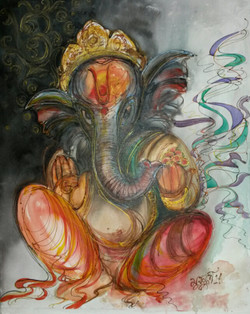 Ganesha - Handpainted Art Painting - 24in X 30in