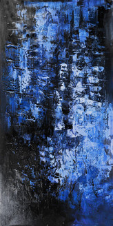 StandingBlueGates3 - 24in X 48in,25ABT749_2448,Blue, Violet, Mauve,60X120 Size,Abstract Art Canvas Painting
