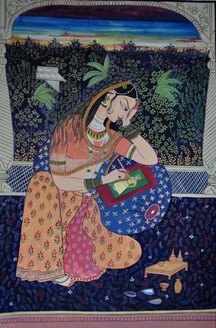 royal family,  love, rajasthani, queen , viraha,Heroine painting a picture of her lover,ART_1489_12122,Artist : Radhika Ulluru,Poster Colors