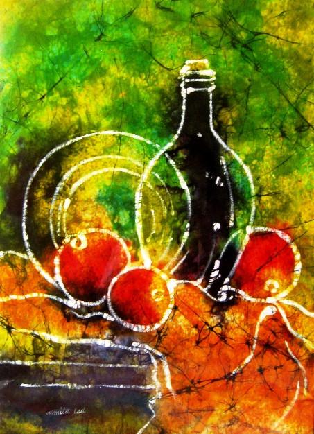 Still Life Batik 13in X 18in Canvas Board Art Aald10
