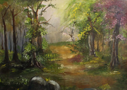 FOREST , GREEN, PATH ,STONE, LEAF, TREE, COLOUR,FOREST,ART_2538_18918,Artist : Poonam Art,Oil