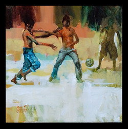Indian sport football (ART_1391_18781) - Handpainted Art Painting - 12in X 12in