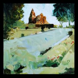 Khajuraho temple 04 (ART_1391_18779) - Handpainted Art Painting - 12in X 12in