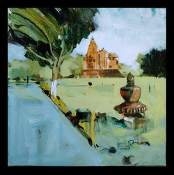Khajuraho temple 01 (ART_1391_18776) - Handpainted Art Painting - 12in X 12in