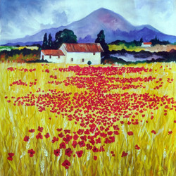 tuscany, summer, harvest, golden, landscape, scenery, mountains, wheat fields, hope, happiness, tulips,Summer in Tuscany,ART_2701_19463,Artist : Sharmishtha Khichar,Acrylic