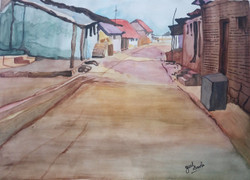 Village, Road, Huts, Small houses, Watercolour, Walkway, Way, Indian, Painting, Beauty, Beautiful, Colourful, Scenic, Pretty,  Colours,HUMBLE AND SERENE,ART_2709_19522,Artist : Zeel Savla,Water Colors