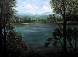 Nature, plants, trees, water, lake, pond, morning, landscape, ,Morning,ART_464_19691,Artist : Seby Augustine,Acrylic